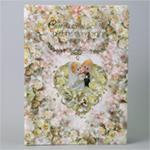 Папка для свидетельства о браке, кукольные молодожёны в сердечке из цветов